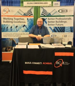 Past President Bruce Pitts staffing the BCxA Booth the Energy Exchange | Better Buildings Conference in Cleveland, Ohio